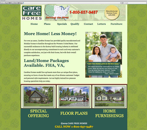 Carefree website before