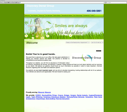 Dental website before