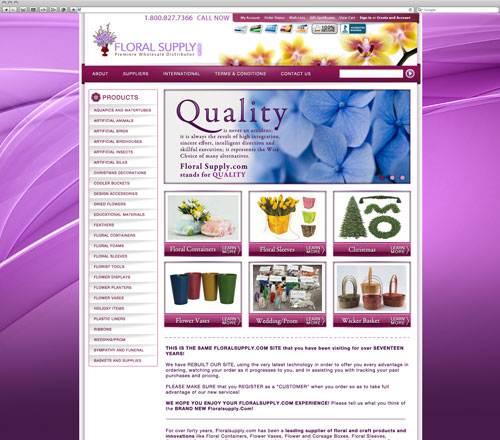 Floral website after