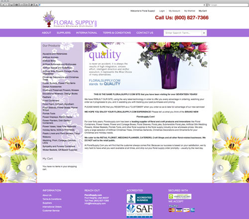 Floral website before