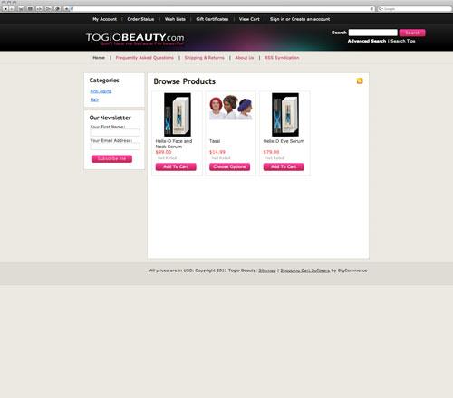 Togio website before